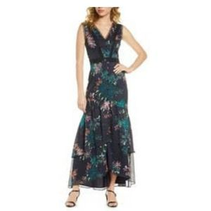 HARLYN Floral & Lace High/Low Maxi Dress XS
